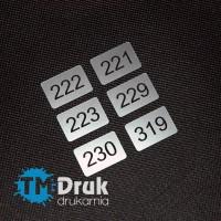 Oznaczenia przycisków ze srebrnego laminatu - samoprzylepne