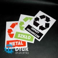 Naklejki na pojemniki z odpadami, wydrukowane na białej folii