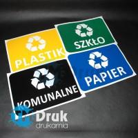 Naklejki do segregacji odpadów: Plastik, Papier, Szklo, Komunalne