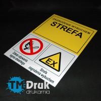 """Znak informacyjny """"Strefa zagrożenia wybuchem"""" z symbolami"""