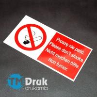 Znak zakazu palenia w czterech językach
