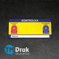 Etykieta - kontrolka gaśnicy drukowana na folii samoprzylepnej